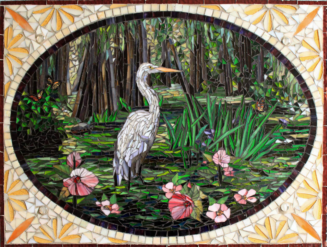Egret In Swamp. Custom Backsplash