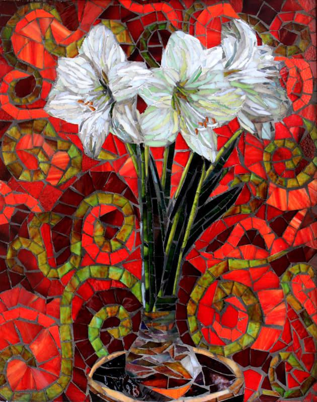 Amaryllis: Custom Stained Glass Mosaic Tile Artwork. American Artists