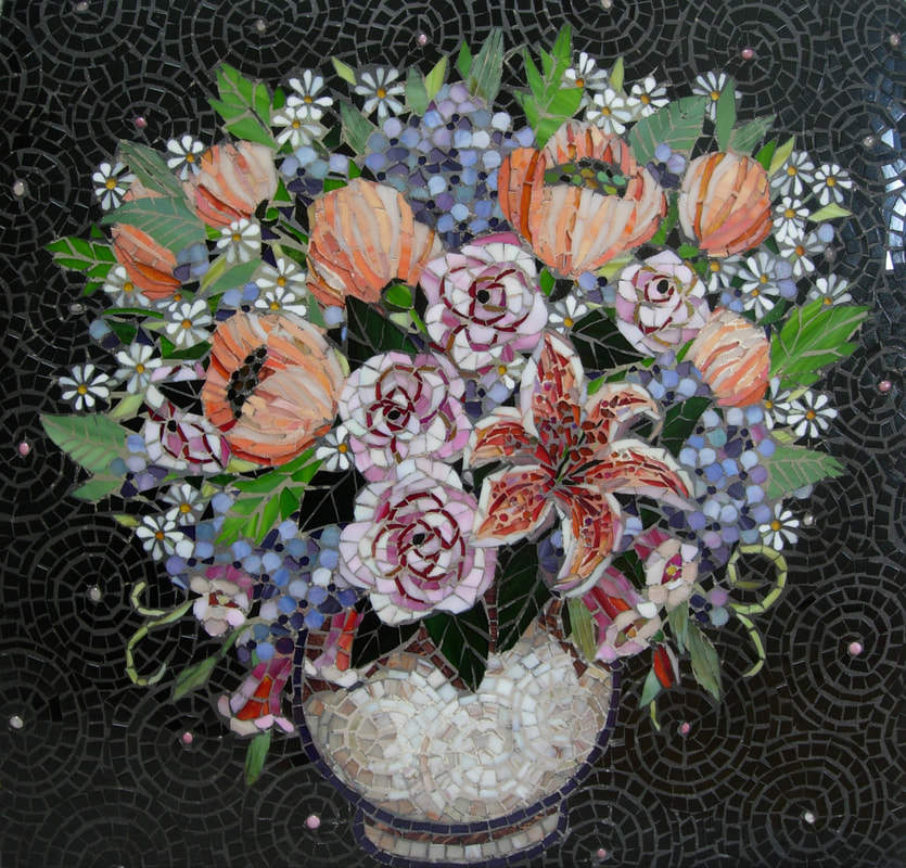 Angela's Flowers: Custom Floral Glass Mosaic Tile Kitchen Backsplash