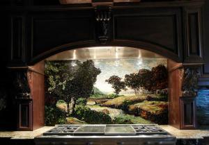 Louisiana Kitchen Backsplash: Custom Mosaic Trees