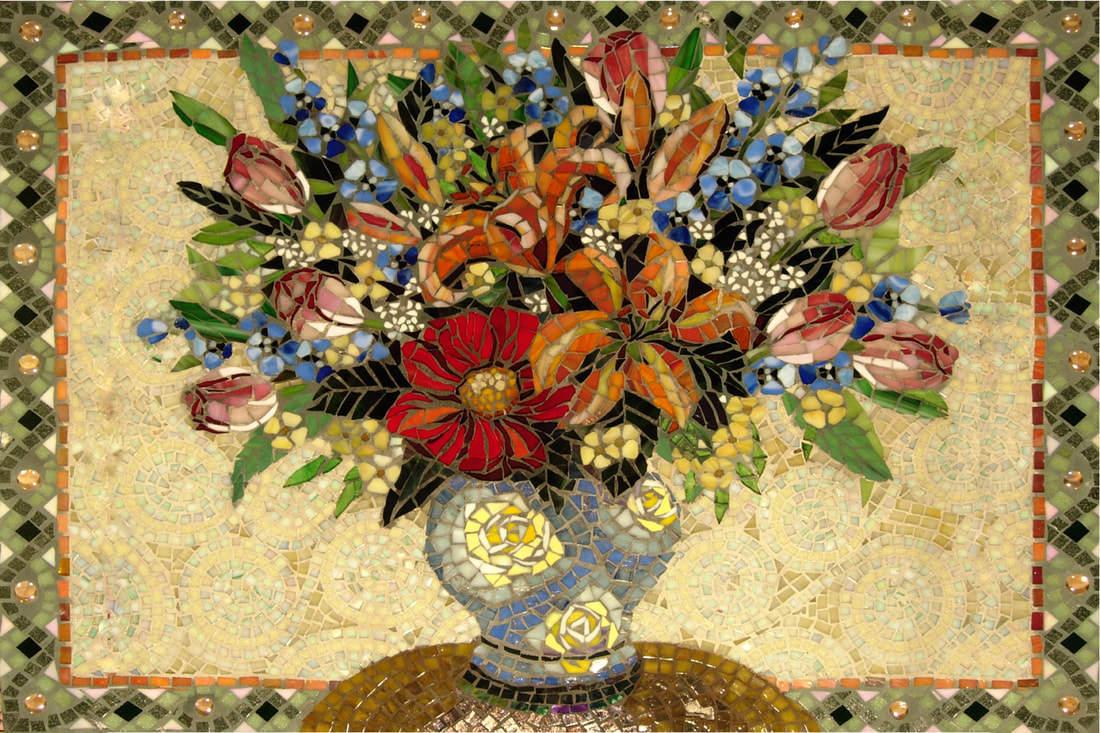 Depalo: Commissioned Floral Kitchen Mosaic Tile Backsplash