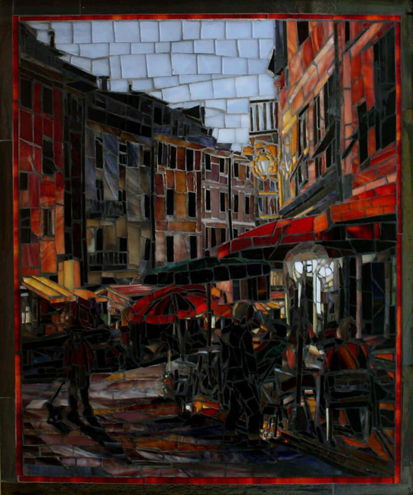 Evening Walk in Venazza: Custom Mosaic Tile Artwork