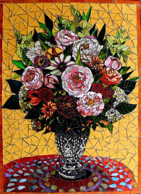 Flowers in a Sunny Room: Floral Fine Art Mosaics