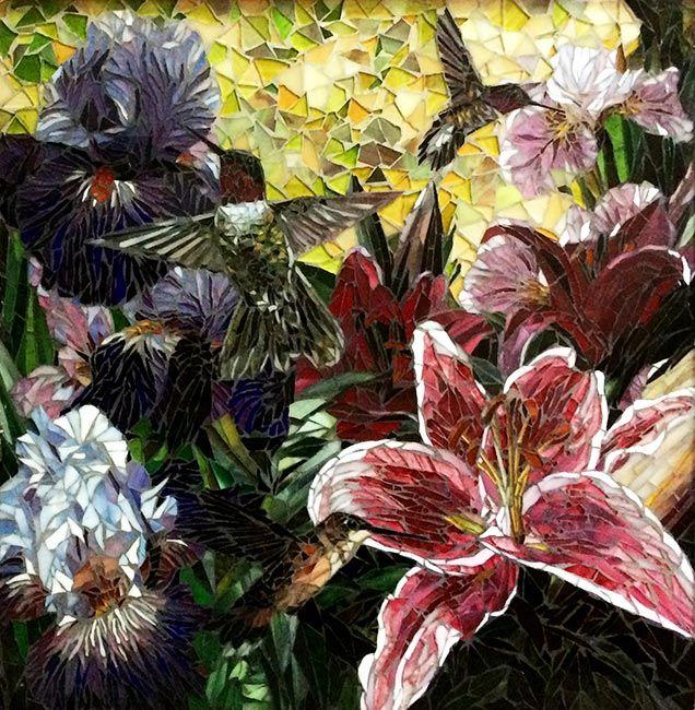 Hummingbirds in the Lilies: Custom Mosaic Art