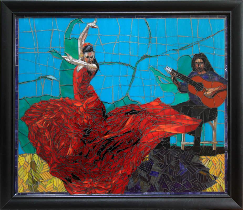 Flamenco Dancer: Commissioned Mosaic Tile Mural