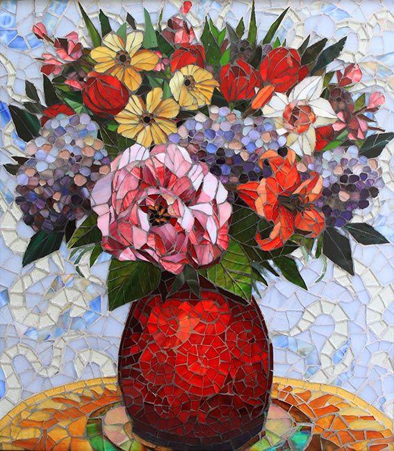 Floral in a Red Vase: Custom Backsplashes