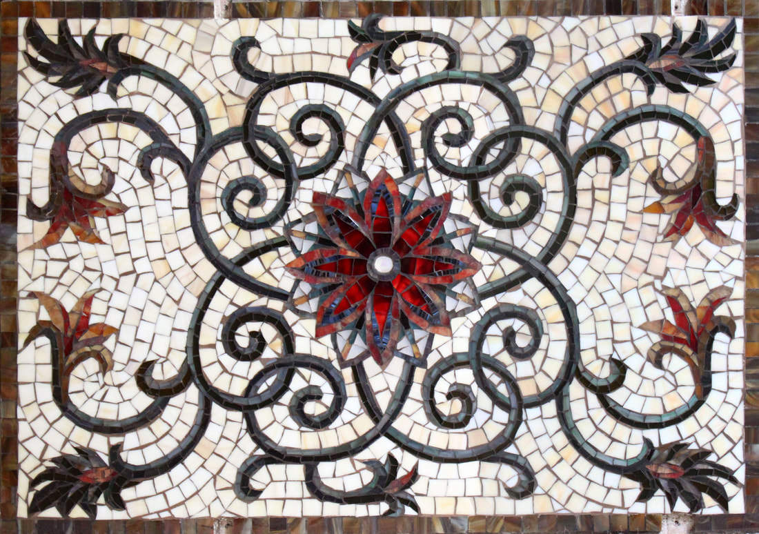 Thompson's Backsplash: Custom Mosaic Glass Tile Floral