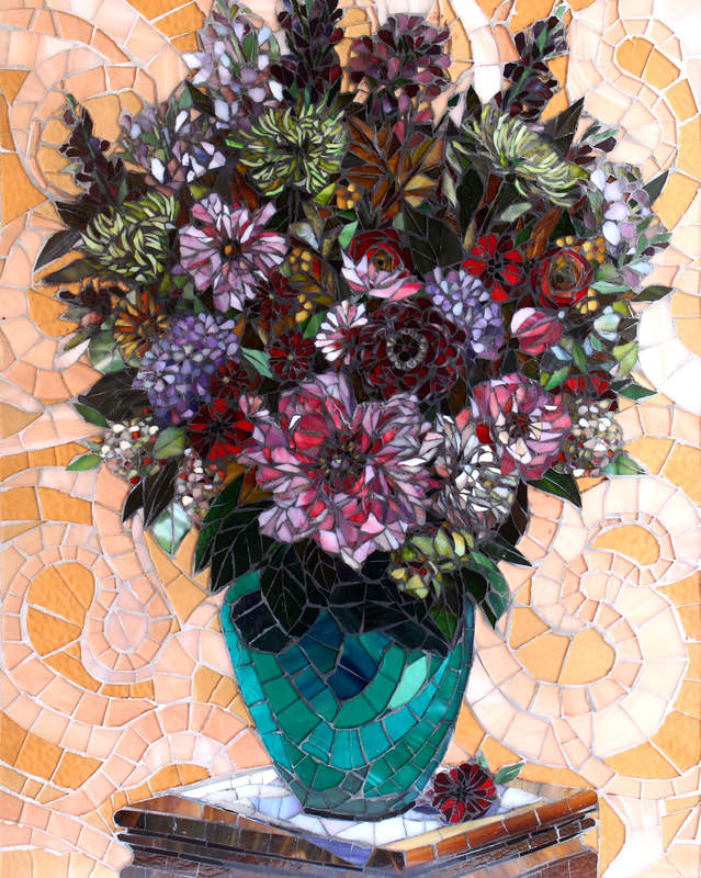 Floral in Pinks: Stained Glass Mosaic Artwork