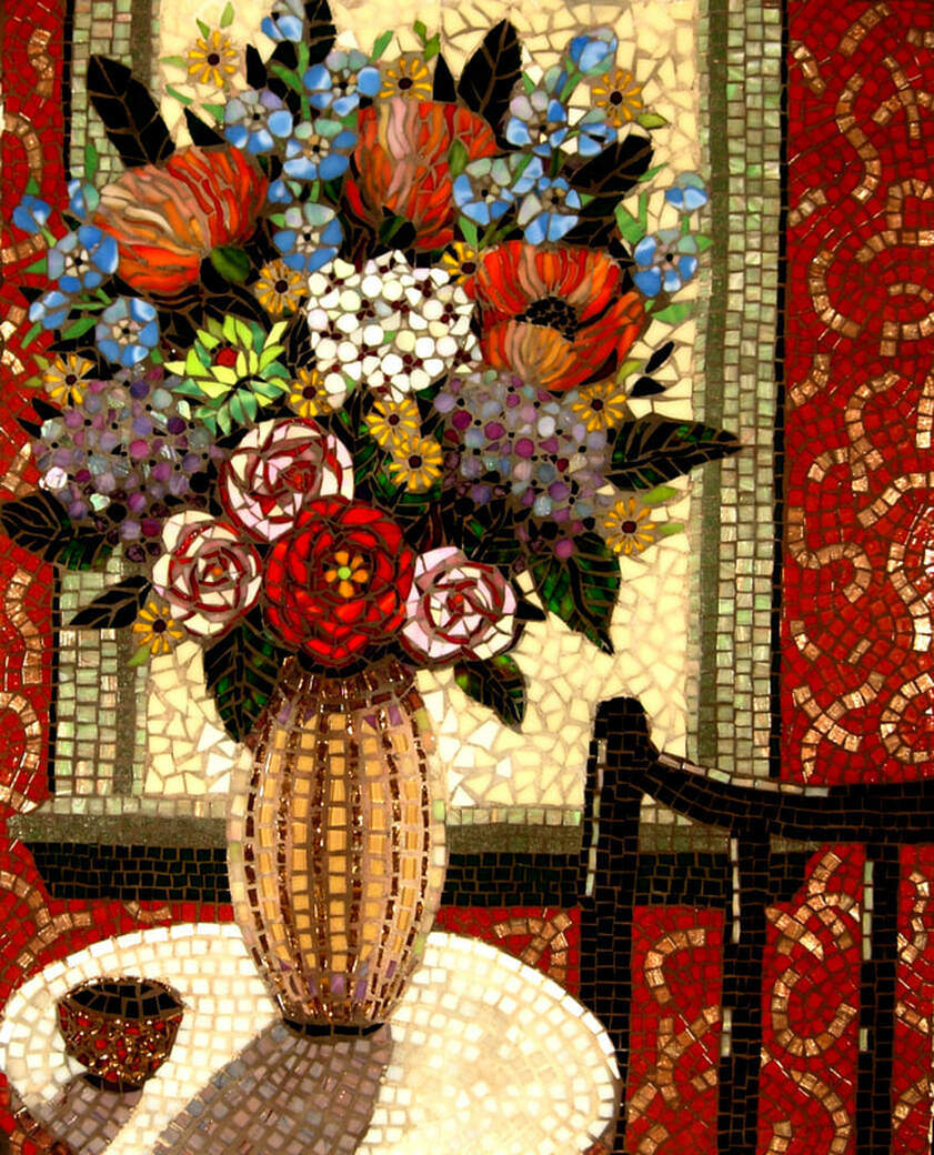 Flowers on the Table: Custom Mosaic Tile Floral Fine Artwork