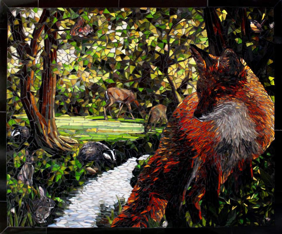 Fox, Deer and Stream: Custom Backsplash