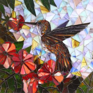 Hummingbird Backsplash: Custom Mosaic Tile
