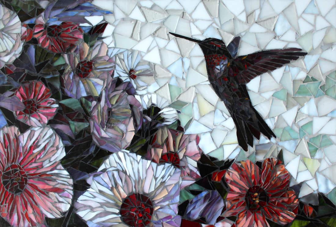 Custom Kitchen Mosaic Glass Tile Bird & Floral Design Backsplash