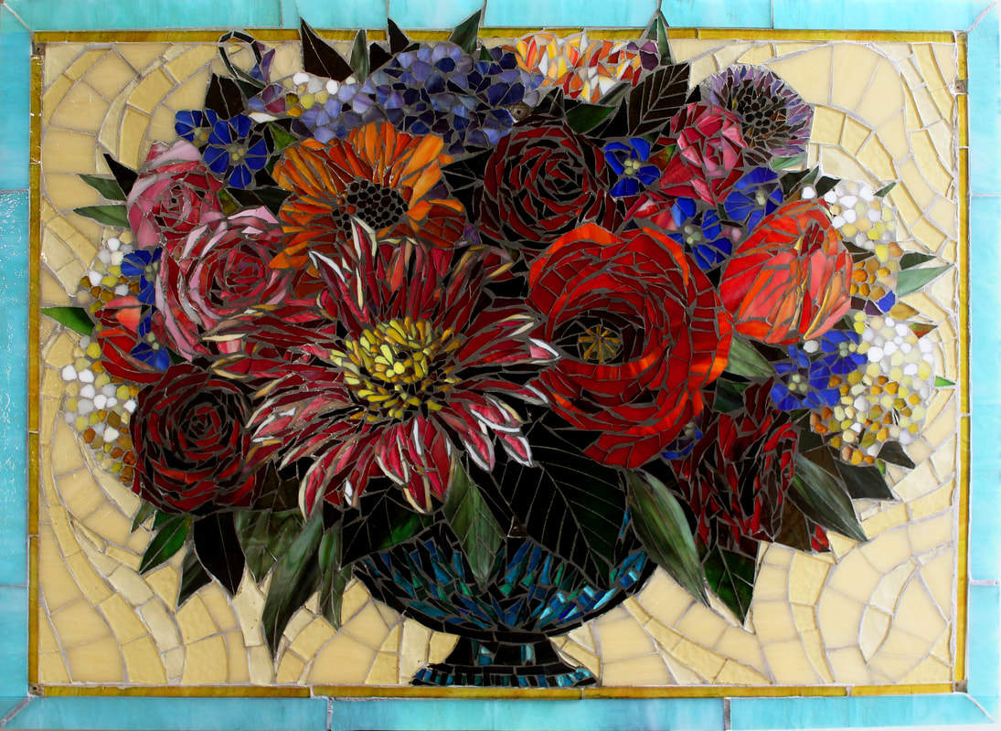 Custom Floral Mosaic Tile Backspash