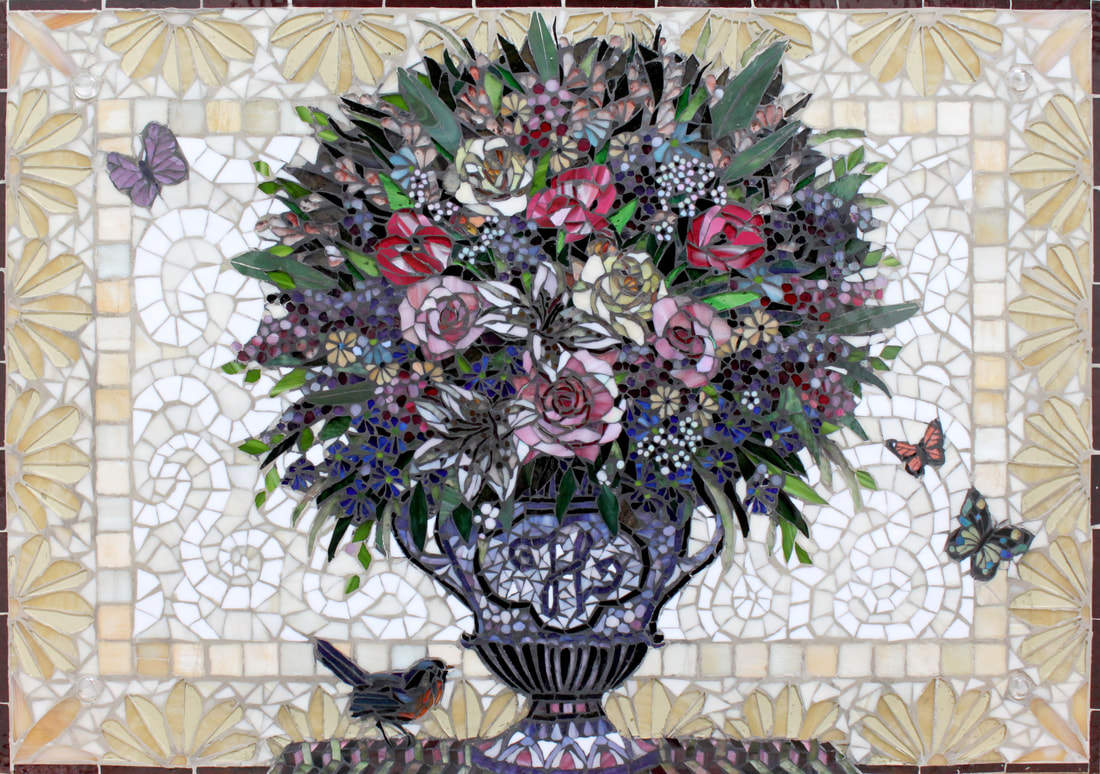 Mamies Flowers: Custom Floral Glass Mosaic Tile Backsplash With Birds and Butterflies