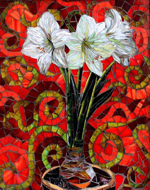 Amaryllis: Glass Mosaic Art