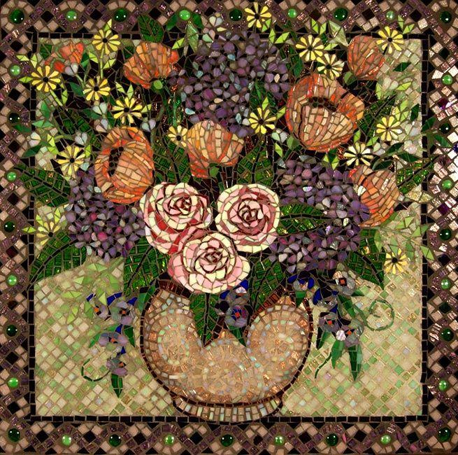 Floral in Pastel: Custom Mosaic Art