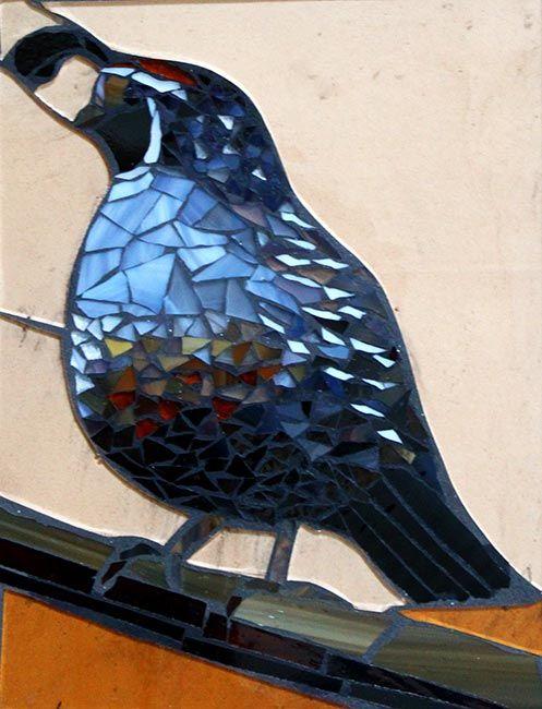 Quail on a branch: Custom Mosaic Art