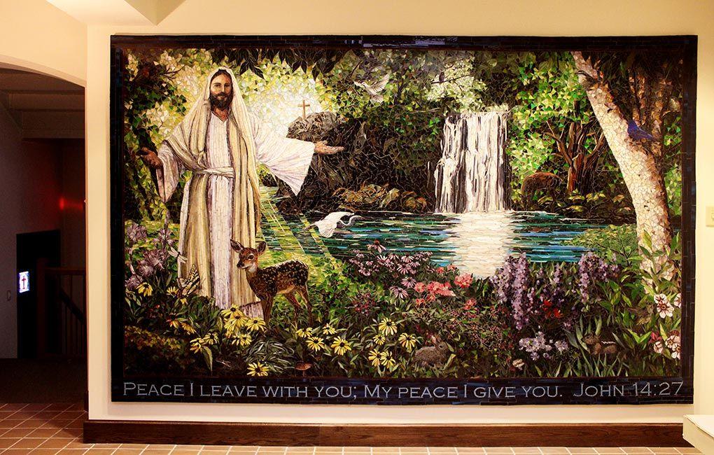 Garden Religious Mural: Custom Mosaic Art