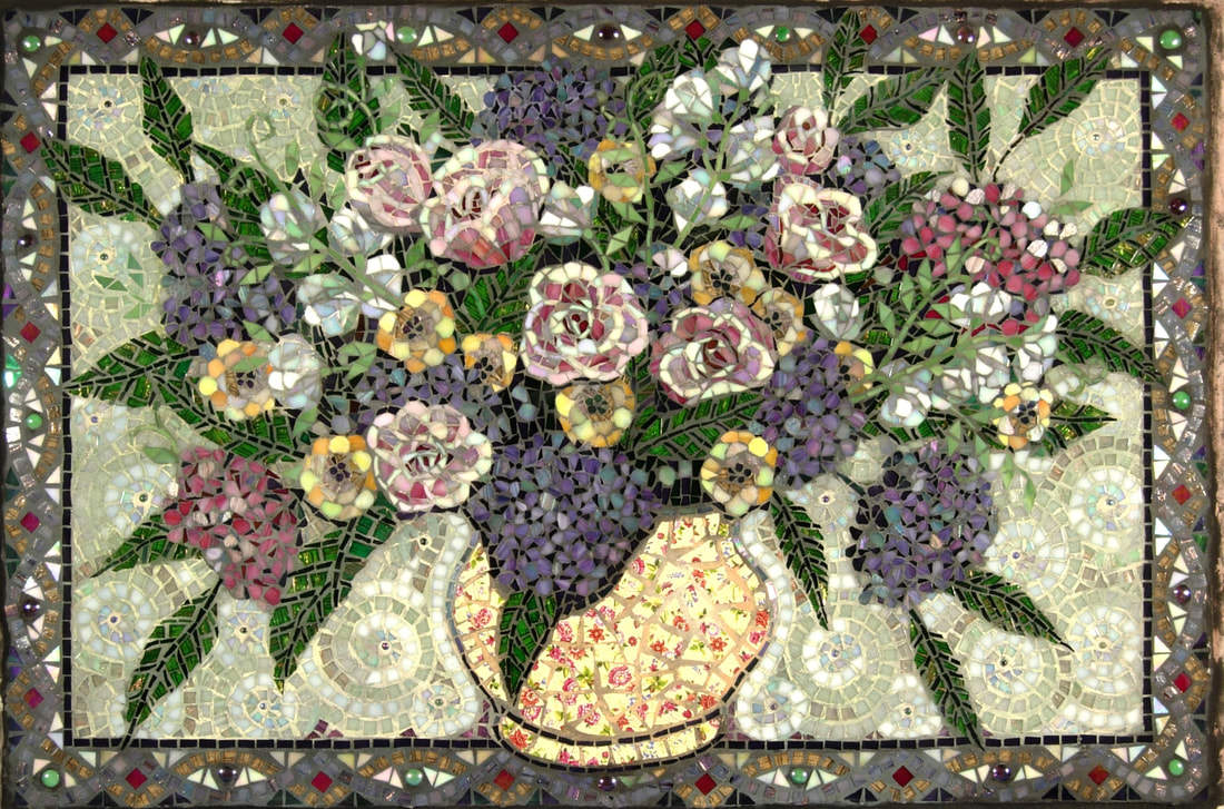 Nita's Backsplash: Custom Floral Glass Mosaic Tile