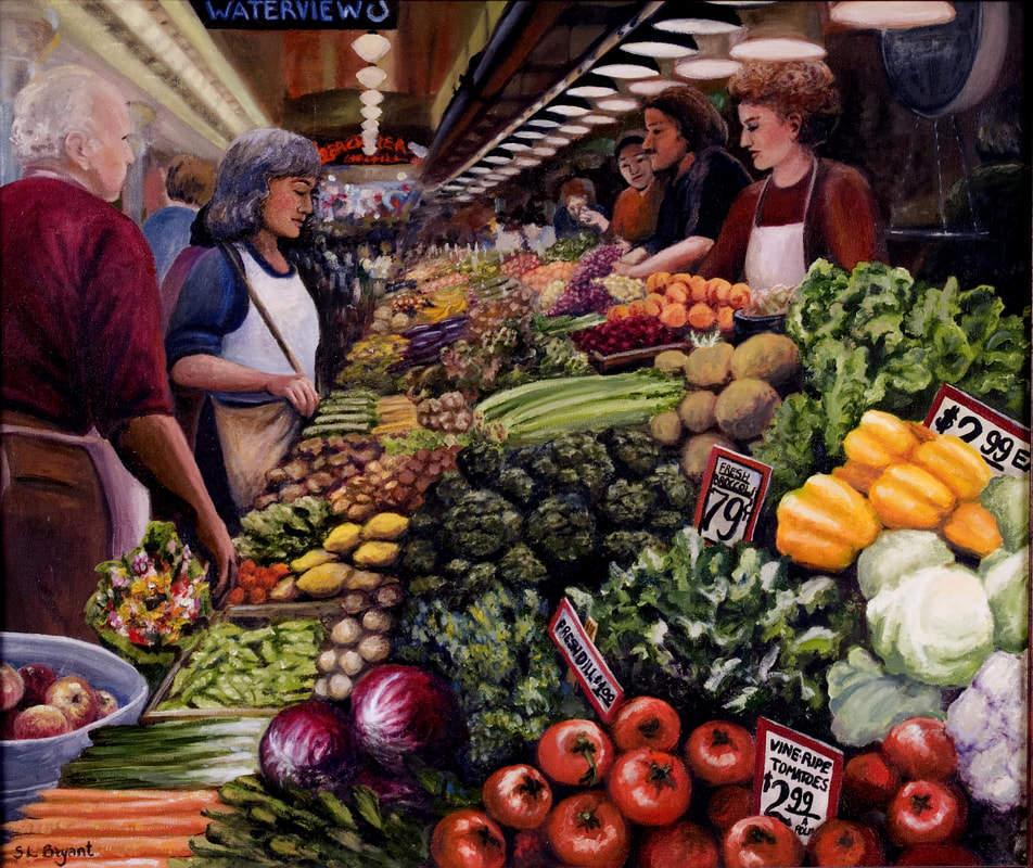 Pike Place Market Painting. Seattle, Washington