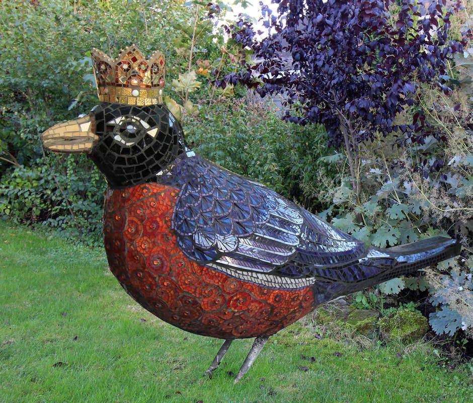 The Robin Queen: Custom Mosaic Tile Sculpture