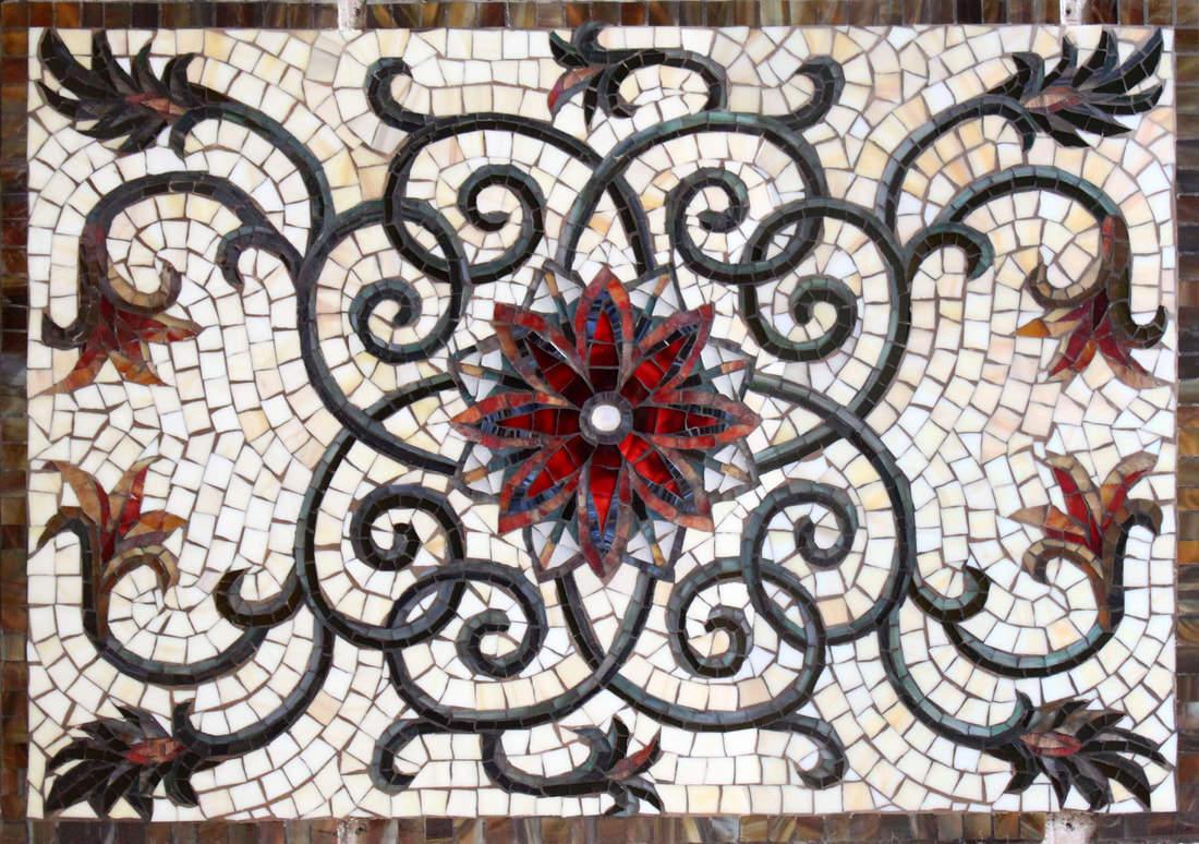 Custom Kitchen Mosaic Glass Tile Floral Design Backsplash