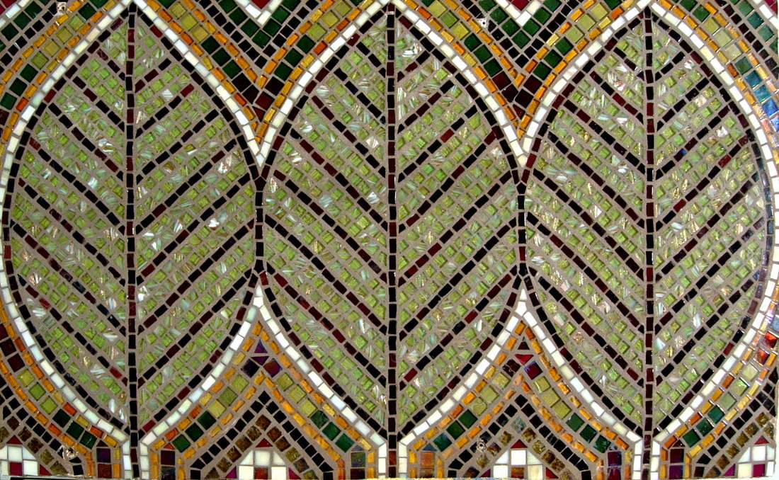Three Leaves Backsplash: Custom Glass Mosaic