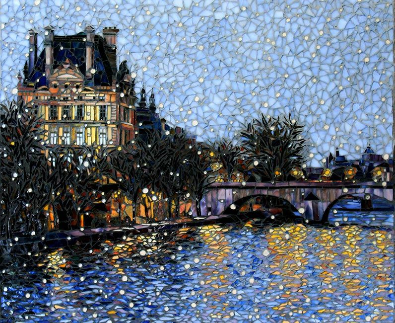 First Snow Paris: Fine Art Mosaics