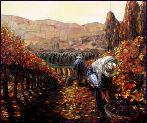 Autumn Vineyard: Fine Art Mosaics For Sale
