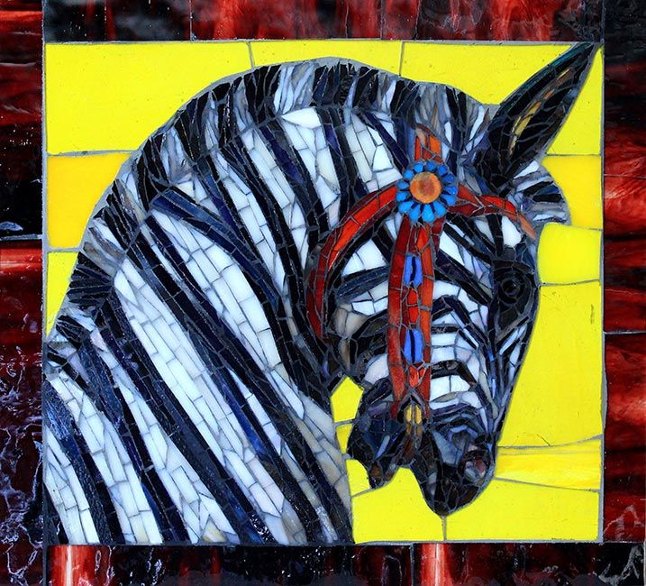 Carousel Zebra: Fine Art Mosaics For Sale