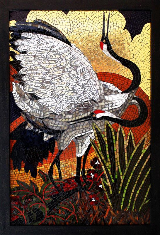 Cranes in Gold: Fine Art Mosaics For Sale