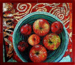 Fruit Bowl on a Red Cloth: Fine Art Mosaic