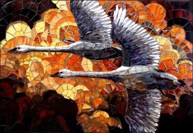 Forlife: Flying Birds Mosaic Tile Artwork