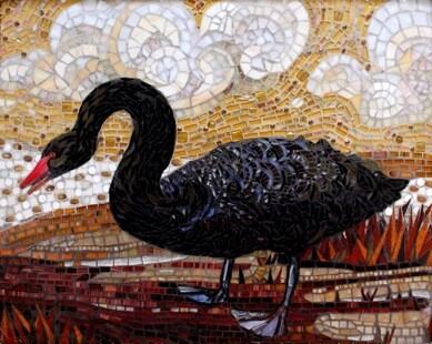 The Black Swan: Mosaic Tile Art