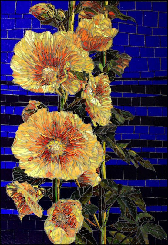 Hollyhocks - Glass Mosaics