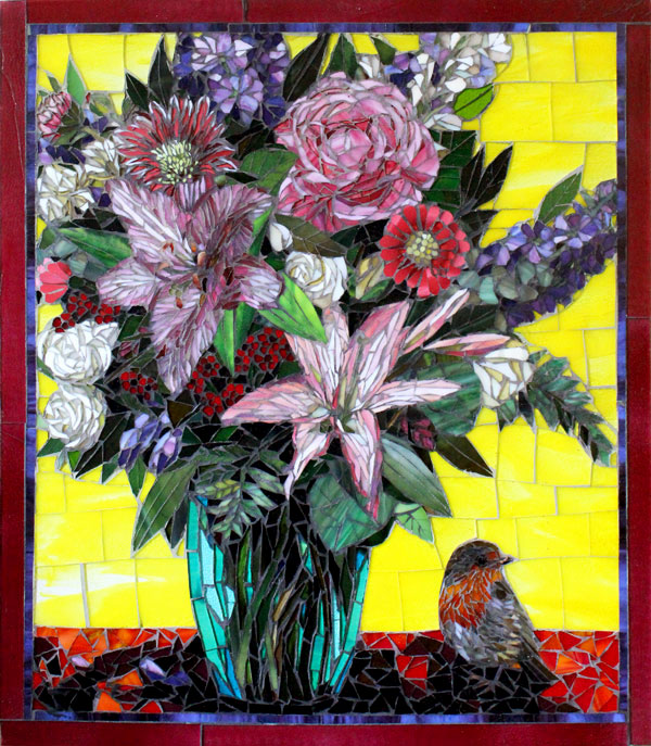 Robin with Lilies: Fine Art Mosaic