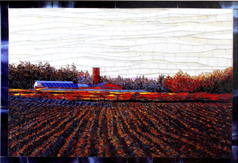 Sunrise over the Fields Fine Art Glass Mosaic