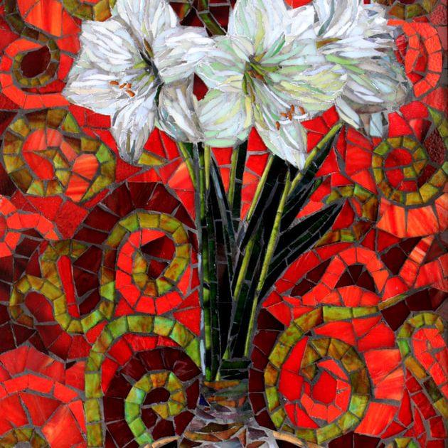 Amaryllis: Custom Stained Glass Mosaic Tile Artwork