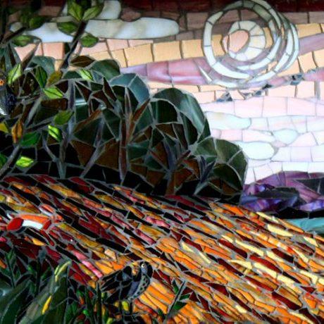Fields in the Moonlight: Custom Mosaic Backsplash. Seattle Mosaic Artists