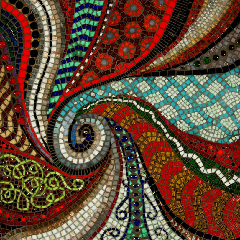 """Mosaic abstract art in bright colors in a swirl of movement and pattern<br> <em> 21"""" x 22""""</em>"""