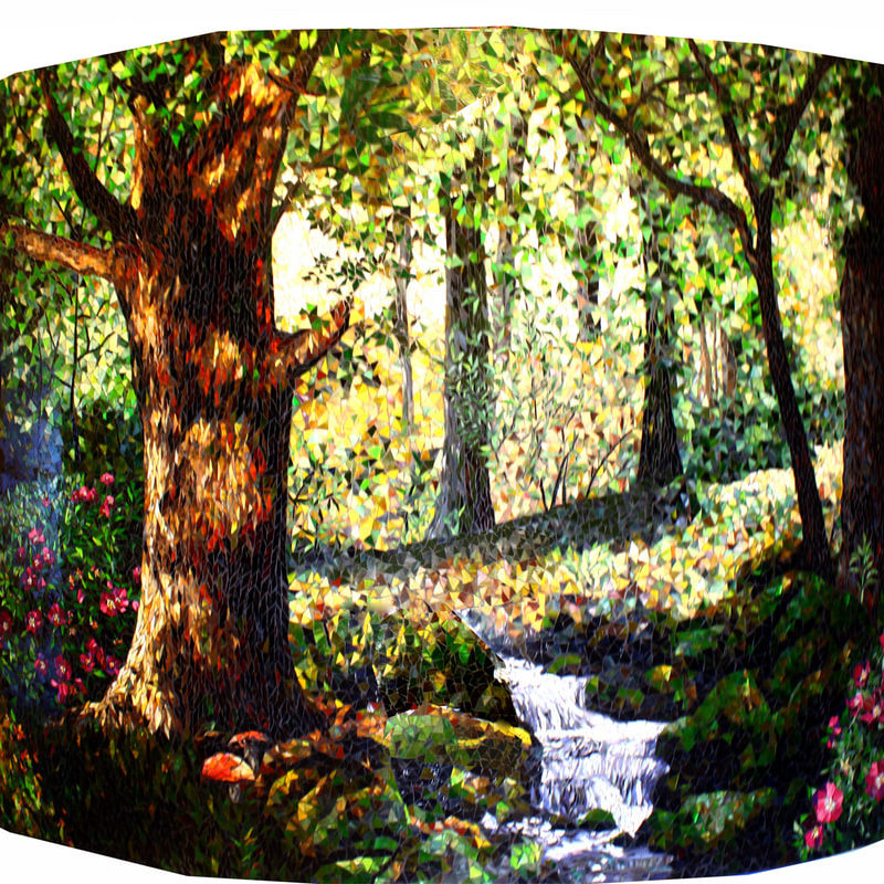 Three glass mosaic murals on curved walls,  ​7ft x 10ft, 7ft x 12ft and 7ft x 13ft<br> Corporate Retreat Kauai, HI<br>  Into Snow White's Forest (2015). <br> These three murals are located in the lobby area of a corporate retreat on the beautiful island of Kauai, HI.