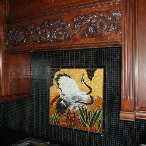 Cranes Blacksplash: Custom Mosaic Tiles