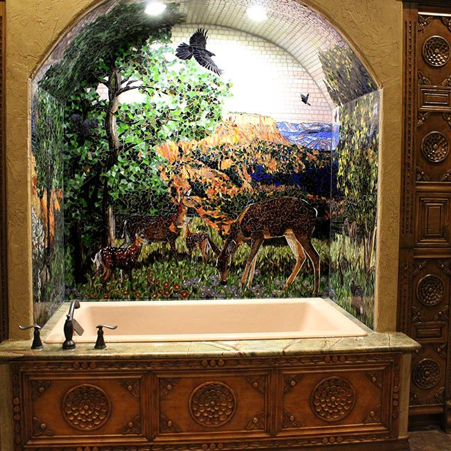 Amarillo bathroom murals: Custom Mosaic Art