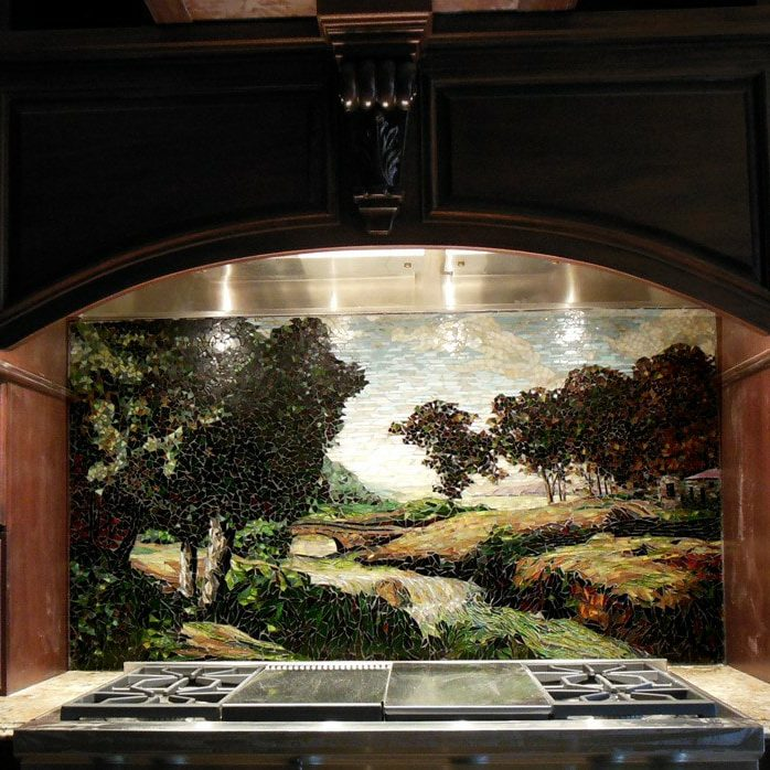 Louisiana Kitchen Backsplash: Custom Mosaic Trees
