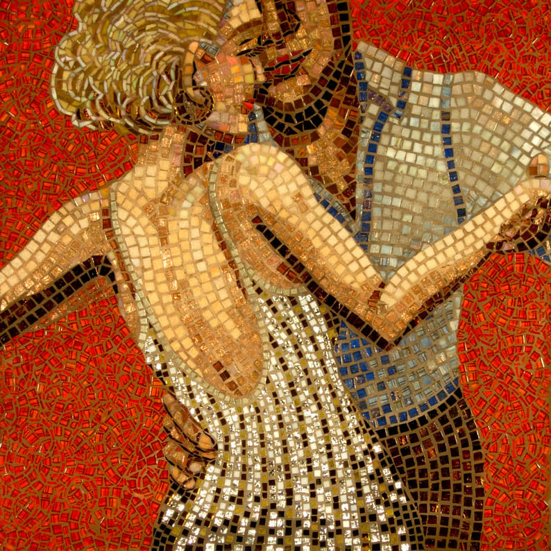 """Glass and gold mosaic (2005) <br> <em>24"""" x 24"""" </em>"""