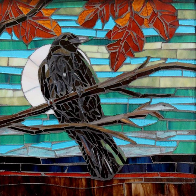 Crow on a Branch: Fine Art Mosaics