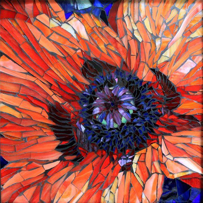 Poppy in Pink: Fine Art Mosaics