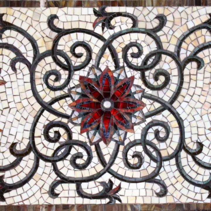 Thompson's Backsplash: Custom Mosaic Glass Tile Floral