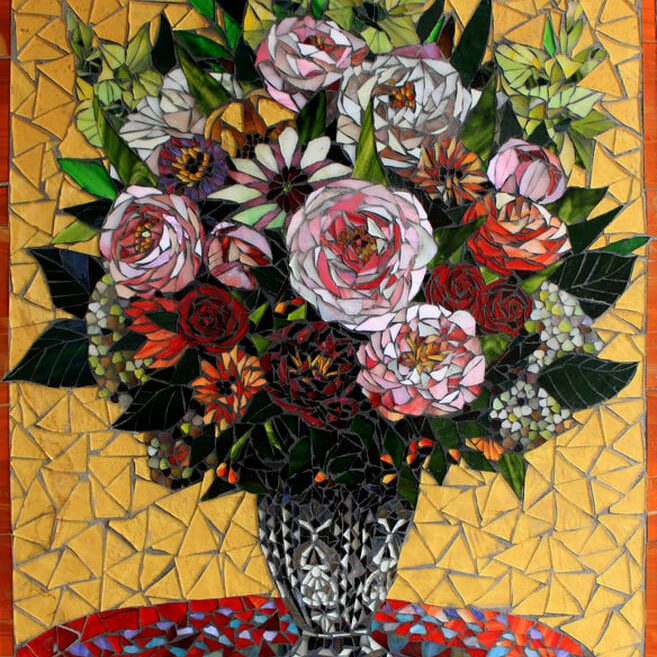 Flowers in a Sunny Room: Stained Glass Mosaic Art. American Artists