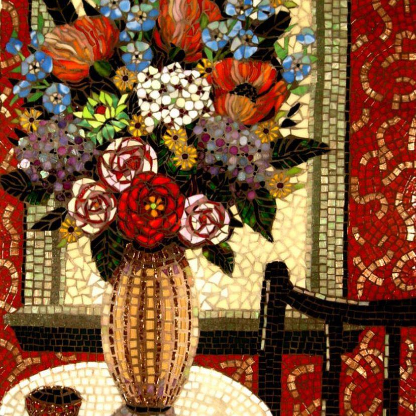 Flowers On The Table: Custom Mosaic Tile Artwork
